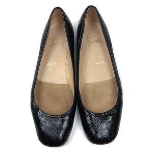 Christian Louboutin 39 Black Patent Ballet Flats